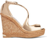 Jimmy Choo Dakota Metallic Leather Wedge Sandals - Gold