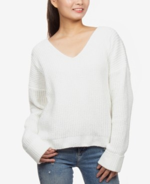 Hippie Rose Juniors' V-Neck Chenille Sweater
