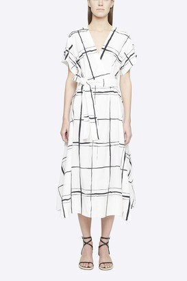 3.1 Phillip Lim Painted Windowpane Crossover Tied Waist Dress