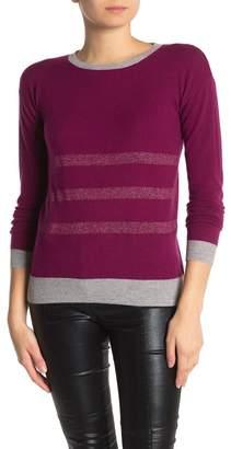 Kier & J Cashmere Metallic Stripe Crew Neck Sweater