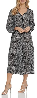 DKNY Printed Ruched Shirtdress