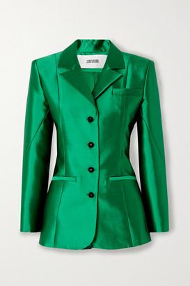 Christopher John Rogers Silk And Wool-blend Blazer - Emerald