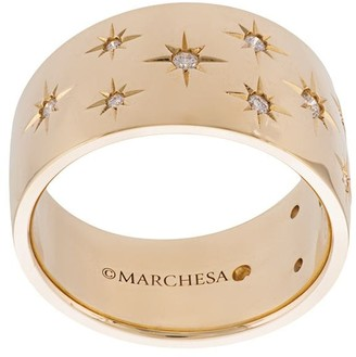 Marchesa 18kt yellow gold diamond star wide wedding band