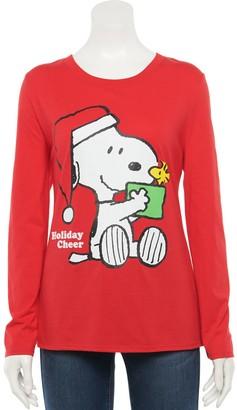 Women's Family Fun Peanuts Snoopy & Woodstock Christmas Graphic Tee