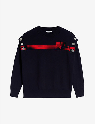 Sandro Fire logo-embroidered wool jumper