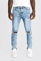 boohoo Mens Blue Skinny Jeans With Busted Knee & Ankle Zips, Blue