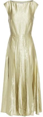 ANNA QUAN Pleated Crinkled Satin-twill Midi Dress