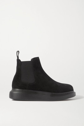 Alexander McQueen Suede Exaggerated-sole Chelsea Boots - Black