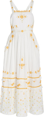 LoveShackFancy Asher Floral-Embroidered Cotton Maxi Dress
