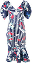 Salvatore Ferragamo structured ribbed print dress - women - Polyester/Viscose - XS