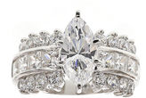 FINE JEWELRY DiamonArt Cubic Zirconia Sterling Silver Marquise-Cut Cluster Ring