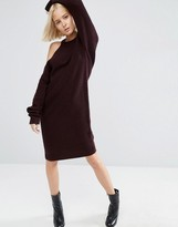 Asos Knitted Midi Dress With Cut Out Shoulder Detail