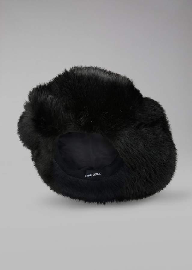 Giorgio Armani Soft Hat In Faux Fur
