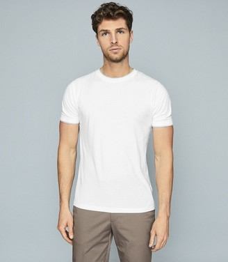 Reiss WALTER COTTON T-SHIRT WITH DOUBLE-LAYER DETAIL White