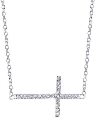"Unwritten Cubic Zirconia East-West Cross 18"" Pendant Necklace in Sterling Silver"