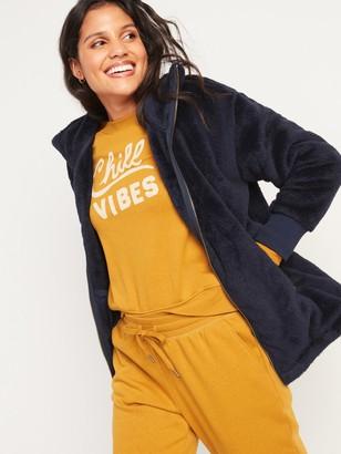 Old Navy Cozy Teddy Sherpa Long Zip Jacket for Women