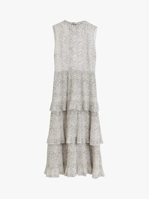 Warehouse Drop Pleat Midi Dress, Neutral