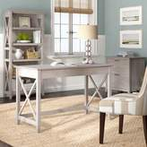 Beachcrest Home Cyra Desk, Bookcase and Filing Cabinet Set Color: Washed Gray