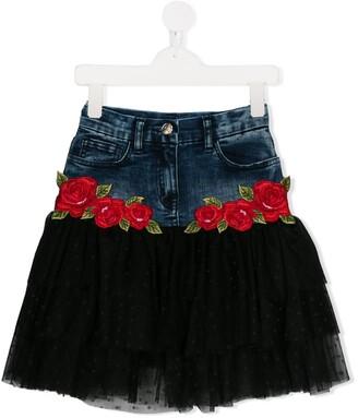 MonnaLisa denim and tulle skirt