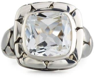 John Hardy Batu Kali Square White Topaz Ring, Size 7