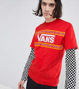 Vans Double Layer T-Shirt With Checkerboard Sleeves In Red Exclusive To ASOS