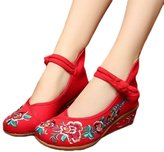 AvaCostume Old Beijing Womens' Embroideried Floral Wedge Heel Cheongsam Shoes