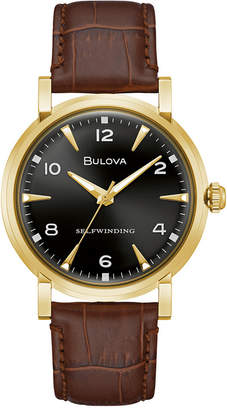 Bulova Limited Edition Automatic American Clipper Brown Leather Strap Watch 39mm