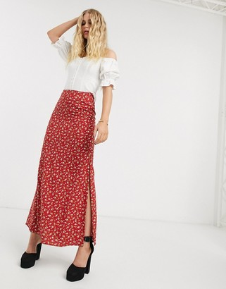 Motel maxi skirt with thigh splits in floral-Red