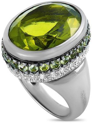 Oro Trend 18K 0.69 Ct. Tw. Diamond & Peridot Ring