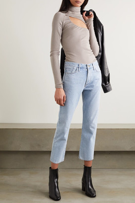 Gold Sign Net Sustain The Low Slung Cropped Mid-rise Straight-leg Jeans - Light denim
