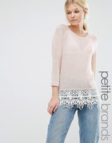 Vero Moda Petite 3/4 Sleeve Lace Hem Sweater