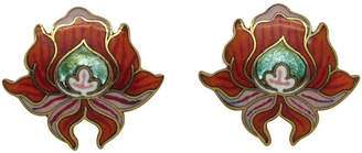 One Kings Lane Vintage David Kuo Enameled Lily Earrings - Thanks for the Memories - red/multi