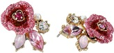 Betsey Johnson Glitter Rose Stud Earrings Earring