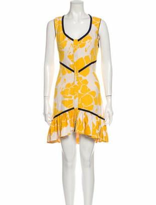 Alexis Printed Knee-Length Dress Yellow
