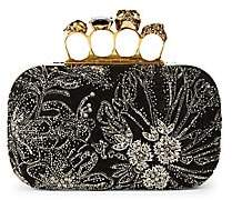 Alexander McQueen Women's Skull Four-Ring Beaded Leather Box Clutch