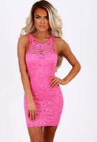 Pink Boutique All Day Dancing Bright Pink Lace Mini Dress