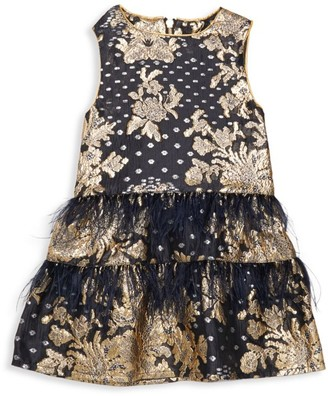 Imoga Little Girl's & Girl's Feather-Trim Jacquard Dress