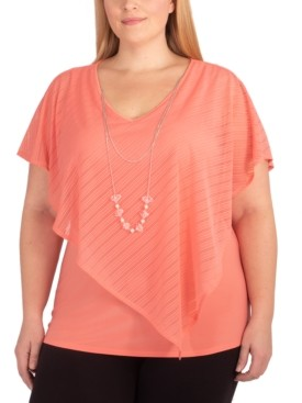 NY Collection Plus Size Layered-Look Poncho