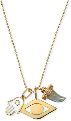 Sydney Evan 14k Enamel & Diamond Evil Eye Charm Necklace