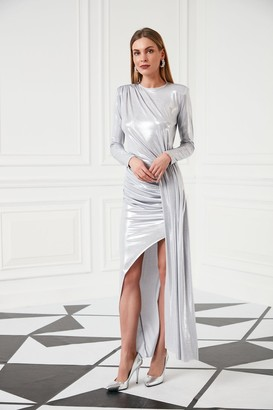 Jenerique Ocasson Maxi Dress with front Slit in Metallic Silver colour
