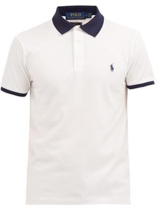 Polo Ralph Lauren Contrast-collar Cotton-blend Polo Shirt - White