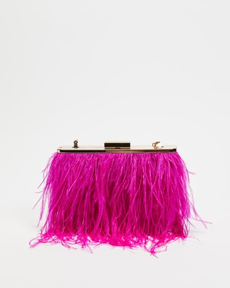 Olga Berg Women's Pink Clutches - Estelle Feather Clutch - Size One Size at The Iconic