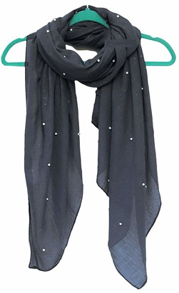 GFM Pearl Embellished Scarf Wrap - Dark Grey- (Style 1-PL-644-GHBH-44)