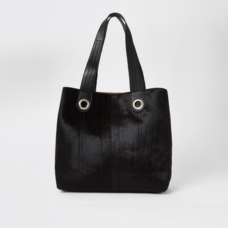 River Island Womens Black leather slouch shopper bag