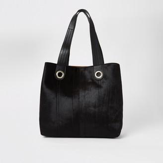 River Island Womens Black leather slouch shopper handbag