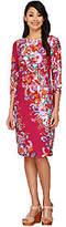 Bob Mackie Bob Mackie's 3/4 Sleeve Paisley Floral Printed Knit Dress