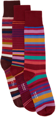 Paul Smith Three-Pack Red Stripe Socks