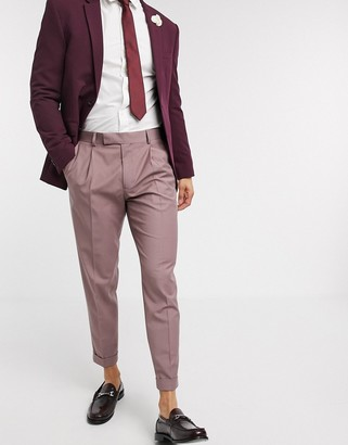 ASOS DESIGN slim smart pants in pink with turn up