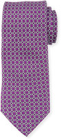Neiman Marcus Boxed Chain-Pattern Silk Tie, Purple