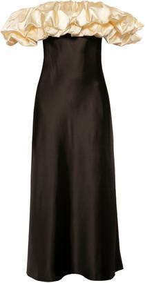 Anna October Full Moon Off-The-Shoulder Satin Dress